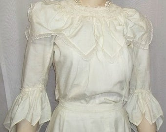 Vintage Edwardian Victorian Era Dress Skirt Blouse XS Small Steampunk