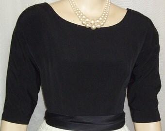 Vintage 1950s Black White Full Circle Lace Dress Small Medium