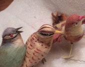 3 vintage birds, rare Xmas ornaments, real feathers, Japan Xmas tree decor