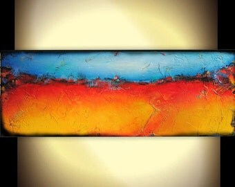 Large Painting Abstract Painting Modern Contemporary Textured Landscape Painting 36x12x1.5