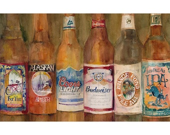 Fat Tire, Alaskan, Coors Light, Budwiser, Mirror Pond, India Paie ale IPA  Art - Clearance on 11 x 14, 12 x 18