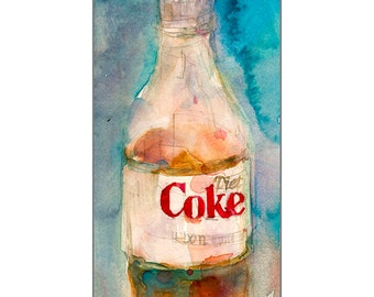 Archival Print of Diet Coke Bottle with Blue Background Watercolor