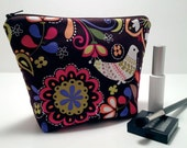 Makeup Bag, Cosmetic Case, Bridesmaid Gift Bag, Make Up Case, Wedding Party Gift, Travel Bag in Jewel Tone Bird Fabric