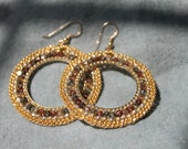 Gold.Desert Gems - Bead and Crystal Hoop Earrings.