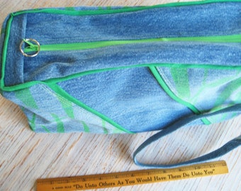 Large Blue Bag Tote Lime Blue Pouch Upcycled Denim OOAK Utility Pouch for Craft Supplies