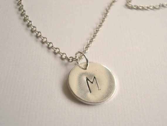 Monogram Necklace Personalized Necklace Hand Stamped Pendant Silver Initial Disc Bridesmaid Necklace Jewelry