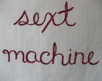 Sext Machine, Original art, Hand embroidered, Modern tapestry, Outsider art, James Brown, Girlfriend gift, Boho, Mashup