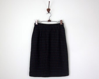 80s skirt / windowpane check plaid pencil wiggle fitted knee (xs - s)