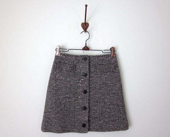 60s skirt / tweed button mini mod fitted grey (xs - s)