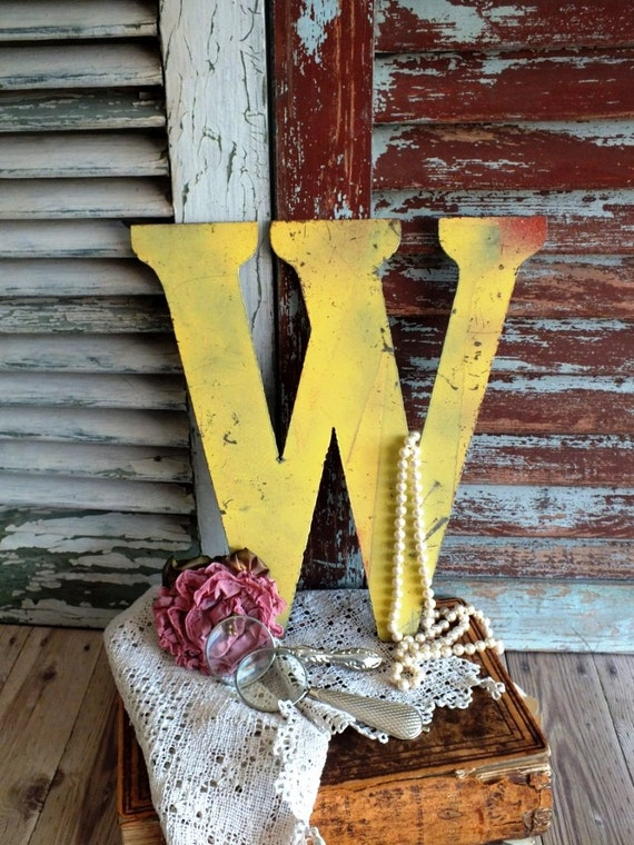 Letter W Initial W Vintage Metal Sign by avintageobsession on etsy