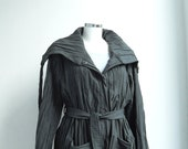 Bushido Pleated Jacket Blezer  with Large Collar - Steampunk Snap-Fastened - Adjustable - Plus Size - Maternity - Crinkle Graphite Gray