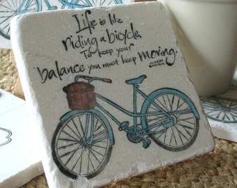 Keep Moving Bicycle Tile Drink Coasters - Bike Lover Gift - Inspirational Office Decor - Graduation Present