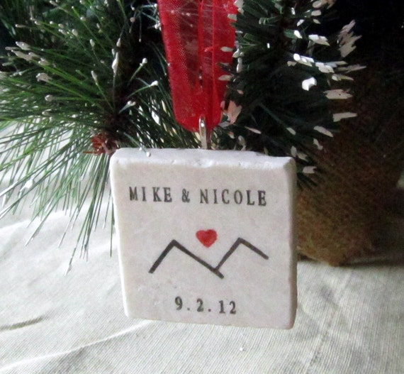 Personalized Ornament - Christmas Mountain Love  Black and Red - Gift Box