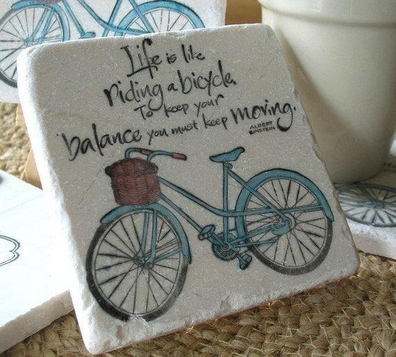 Keep Moving Bicycle Tile Drink Coasters - Bike Lover Gift - Set of 4