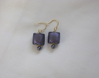 CLEARANCE: Purple Foil Glass and Freshwater Pearl Earrings on 14k Gold