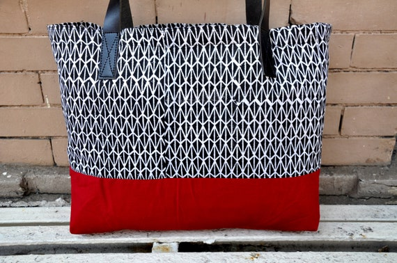 Canvas Tote Bag with leather straps in Black Geometric  print & Red bottom - Leather, Beach Bag, Shoulder Bag, Large Tote, Diaper Bag