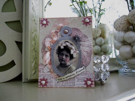 Victorian Friendship Card - Shabby Chic Card - Vintage Style Card for Best Friend