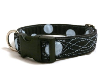 SALE - 20% off - Black and blue dog collar - Dots dog collar - Wave pet collar - Blue dots and waves adjustable dog collar - Discount price