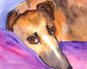 Greyhound Art Print of Original  Painting 8 x 10  MJ Zorad Dog Art
