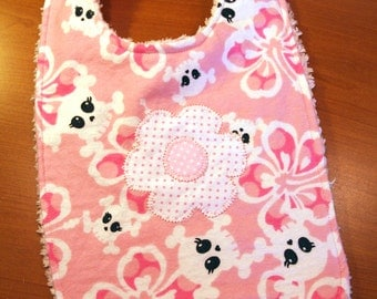 Baby Bib - Pink Skulls and Flowers - Flannel and Chenille - For Girls