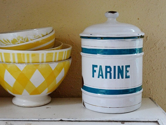 vintage enamelware canister, French lettering, white with blue stripes, made in Belgium