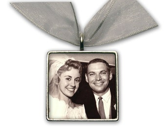 "Wedding Bouquet Photo Charm  Wedding Accessories Silver Pewter - Square 1"" x 1"""