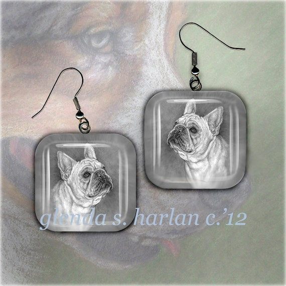 Fawn French Bulldog Art On Pair of Glass Earrings