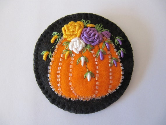 """Pumpkin  Brooch with Embroidery 3"""""""