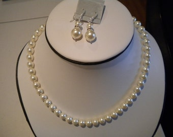 Bridesmaid set, Bridal jewelry, Swarovski pearl necklace earring set, wedding necklace and earrings, PS001