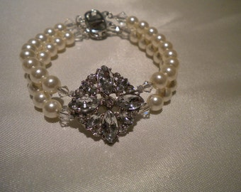 pearl Bracelet, Bridal bracelet, crystal bracelet, bridesmaid bracelet - Robyn collection PB027