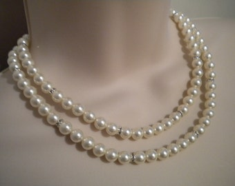 Bridal pearl necklace, Vintage Style necklace, double Strand Pearl Necklace, Carol PN071