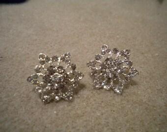 Bridal Rhinestone Earrings, Silver Stud, Flower Rhinestone Earrings, Bridal Stud Earrings, Silver, Post, Statement Bridal Earrings