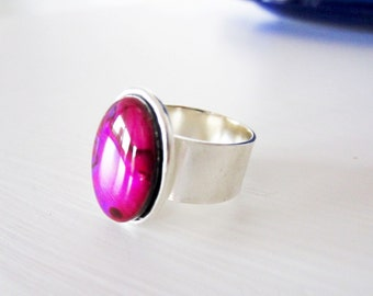 Violet paua shell and silver ring.  Wide band.  Abalone.  By Littlebearsmom.