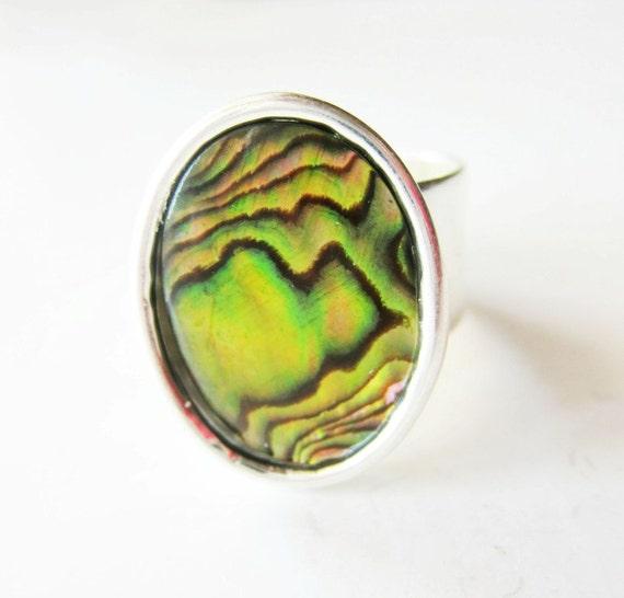 Chartreuse paua shell. Yellow paua ring. Yellow paua shell. Gold paua ring. Gold paua shell. Gold abalone shell. Paua jewelry. Silver ring.