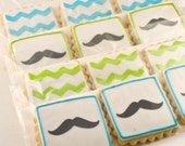 Chevron Stripe and Mustache Cookies - 24 Decorated Sugar Cookies
