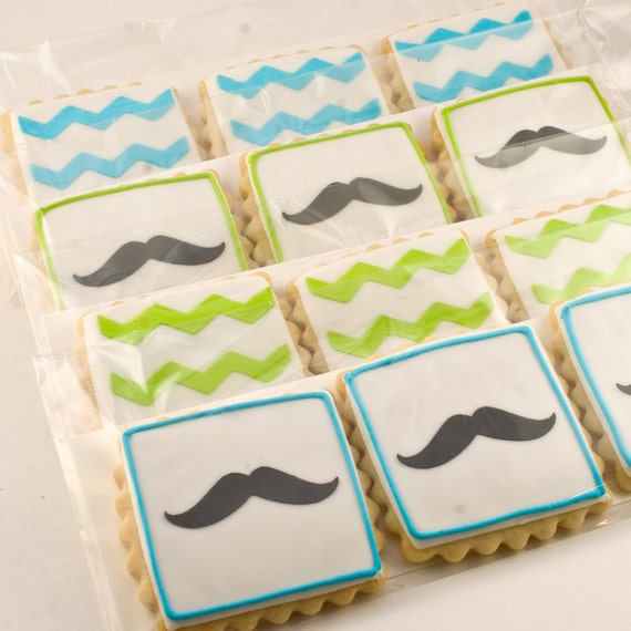 Chevron Stripe or Mustache Cookies - 24 Decorated Squares