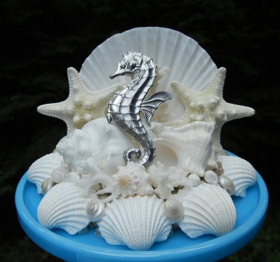 Seashell Starfish Seahorse Wedding Cake Topper - Seahorse Dreams Silver