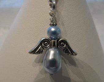 Angel Zipper Pull, Angel Charm, Guardian Angel Charm, Angel Zipper Charm, Angel Purse Charm, using Swarovski Pearls