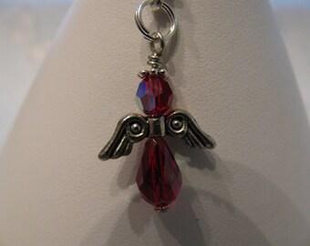 Angel Zipper Pull, Crystal Angel Charm, Crystal Angle Zipper Pull,  using Swarovski Crystals, Name Tag ID Badge Holder Charm Siam