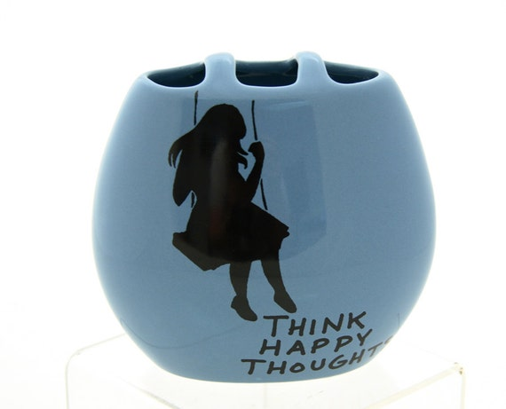 Vase Happy Thoughts Perriwinkle Blue with Girl on Swing on sale