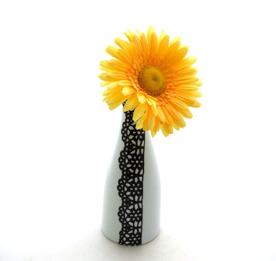 Porcelain vase lace design can also be used as cruet oil vinegar bottle