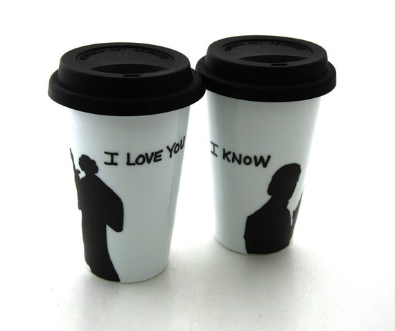 RESERVED For Cookie, Star Wars (R) Han Solo and Leia I love You I know  Porcelain Travel Mug Set for Wedding or Anniversary