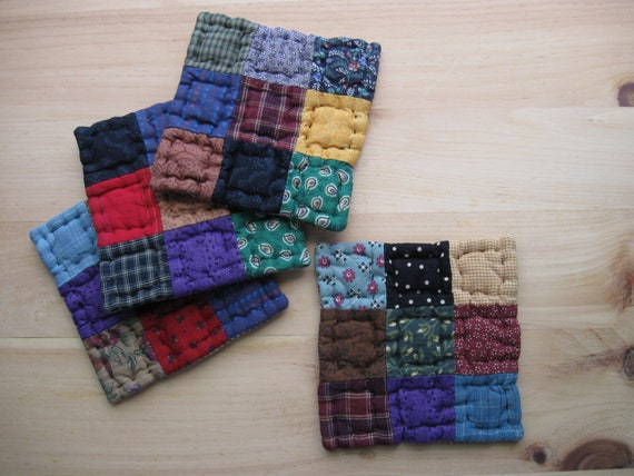 Quilted Coasters  - Mug Mats - Fabric Coasters  Rustic Country Decor Farmhouse Decor Kitchen Housewares Primitives Country Decor