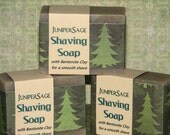 Shaving Soap, aromatic Juniper Sage masculine scent, with bentonite clay for a smooth shave, new larger size