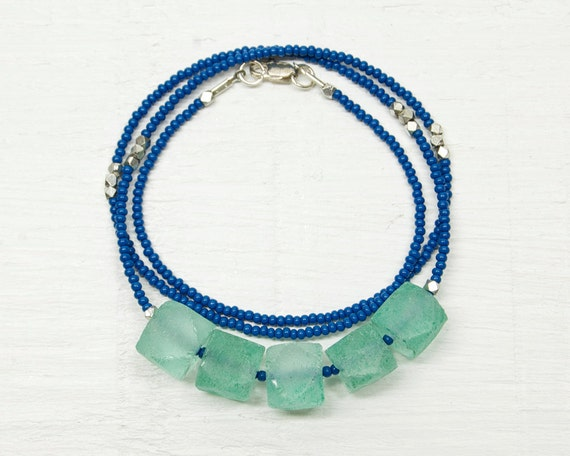 Weathered no8 // Recycled Glass Beaded Necklace // Aquamarine and Slate Blue
