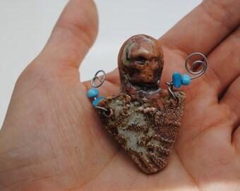ceramic pin mixed media clay skull skeleton brooch