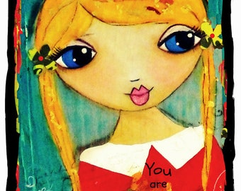 You are my Sunshine fine art print of a mixed media painting by Lisa Ferrante