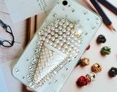 Apple iphone 5s or 6 case, swarovski crystal rhinestone, metal rhinestone Ice Cream Cone US shipping