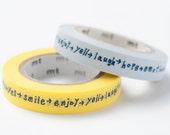 mt Washi Masking Tape - Shiritori Word Chain in Yellow & Grey Blue - mina perhonen