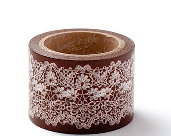 Aimez Washi Masking Tape - Brown Lace - 38mm Wide
